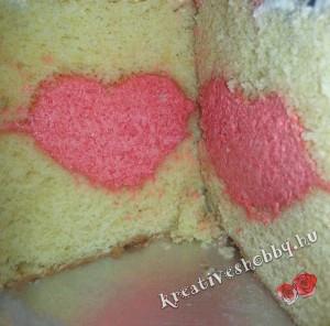 Emeletes Minnie egér-torta: a szív-töltelék