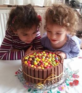Jázmin és Róza az első Kit Kat-tortával