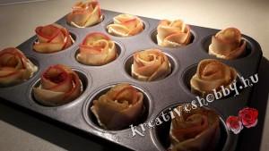 Almarózsák:a rózsákat muffintepsiben sütjük