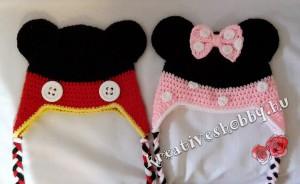 Horgolt Mickey és Minnie egér sapka