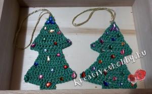 Horgolt fenyő karácsonyfadísz