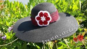 Horgolt afrikai virág mintás kalap
