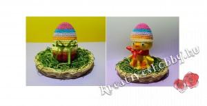 Horgolt tojásban-a-csibe: zárva és nyitva