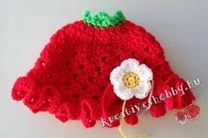 Horgolt epres sapka: a virág rögzítése