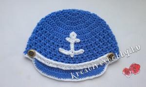Horgolt tengerész-sapka