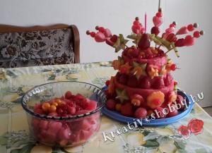 Dinnyetorta és gyümölcssaláta