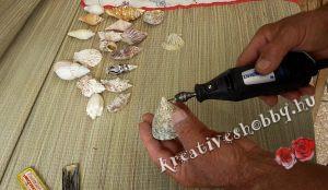 Kagylós szélcsengő: lyukat fúrunk a kagylókra