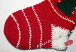 Horgolt Mikulás-zokni: a zokni sarka